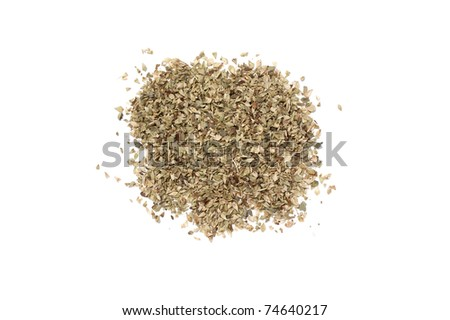 a little mount of oregano leafs isolated in white