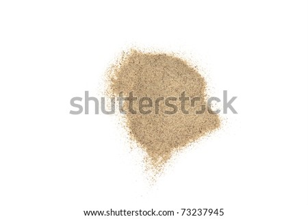 a little of white pepper powder isolated in white