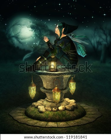 a little pixie with lanterns sitting on a altar of stone - stock photo
