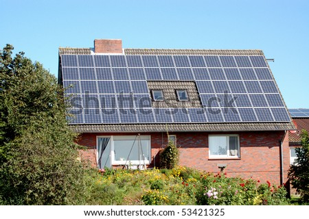 A little private house with solar panels