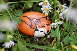 A little sleeping red fox is painted on a rock and hiding in the cozy grass and flowers in the garden.