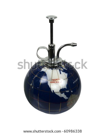 A little spritz of humanity shown by an inlaid world globe with a spritzer top - path included