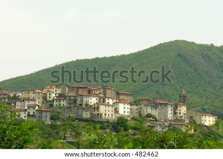 a little village in the italian mountains - stock photo