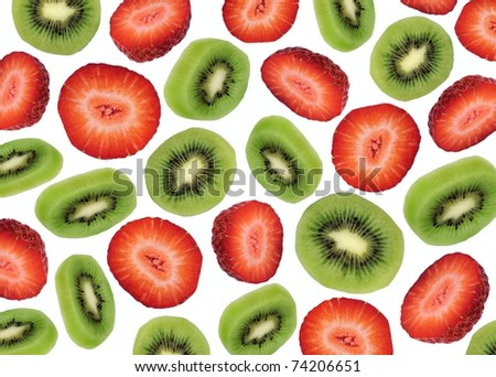A lively presentation of fresh Kiwi and Strawberry slices.