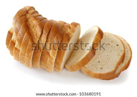 a loaf of fresh bread, cut into thin slices, on a white background, isolated