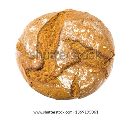 A loaf of traditional round rye bread is isolated on a white background. Round rye bread isolated on a white background #1369195061