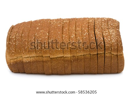 A loaf of whole wheat bread isolated on a white background, loaf of bread