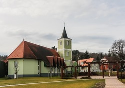 A local attraction: The church of the Heart of Jesus, modern nave and old belfry, Heviz, Egregy village, Hungary