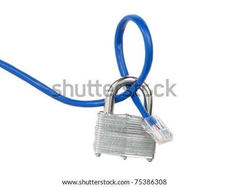 A locked padlock and a network cable