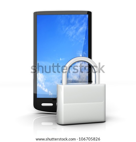 A locked smartphone. 3D rendered illustration isolated on white.