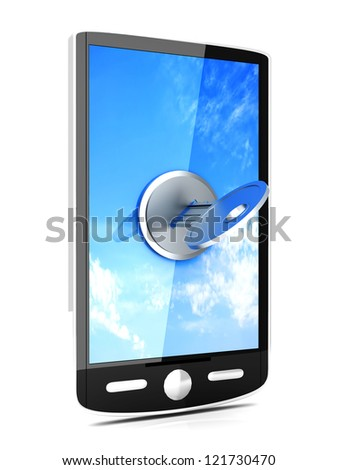A locked smartphone. 3D rendered illustration. isolated on white.