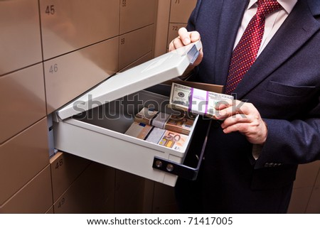A locker in a bank vault. Storage of cash and documents.