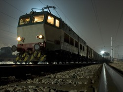 a locomotive in the night
