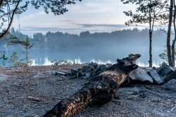A  log lies on the edge of the rocky shore of a quarry against a picturesque landscape. Fog over the quarry filled with clear blue water on a summer evening, at dusk. Side view. Close-up