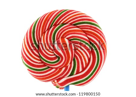 A lollipop close-up isolated on white. - stock photo