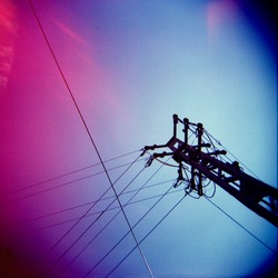 a lomography of a transmission tower