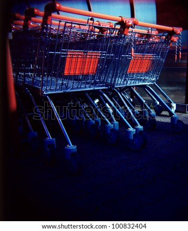a lomography of shopping carts