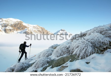 A lone backcountry skier walks up to the top of the mountain, italian alps, europe.