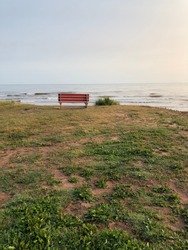 A lone bench looking over the Atlantic ocean