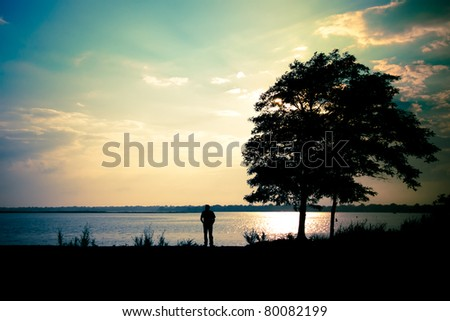 A lone man standing at the shore, beside a tree,  under a dramatic evening sky