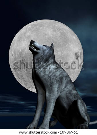 A lone wolf barks in front of a full moon - stock photo