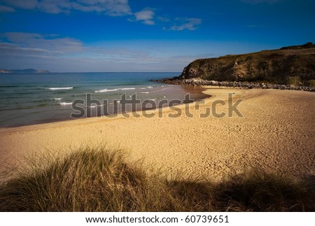 A Lonely beach with a blue sky with few clouds