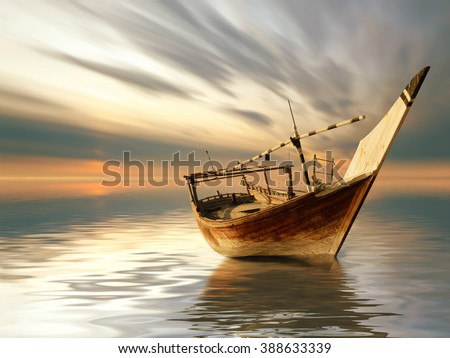 a lonely boat in the middle of...