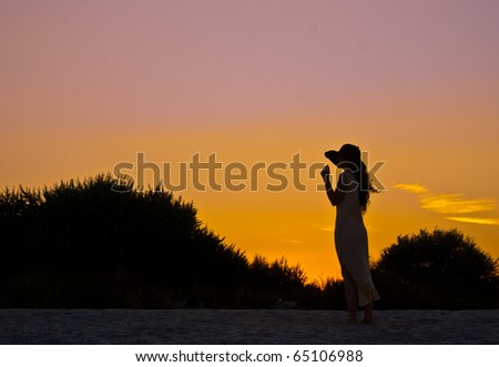 A lonely girl on the beach at sunset