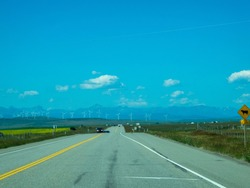 a lonely road in canada outside from Calgary