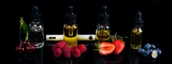 A long background of juicy berries of cherries, strawberries, blueberries and raspberries, on black with a hatching. Next to an electronic cigarette, and the fluidity for it