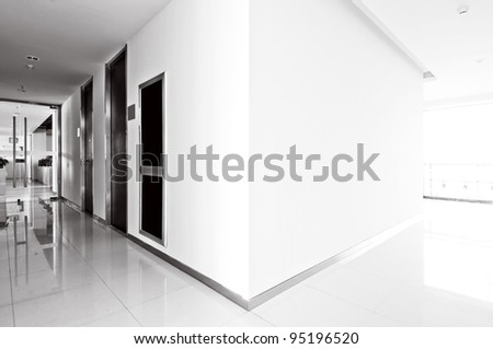 A long corridor, modern building interiors