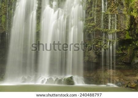 A long exposure closeup of Llanos de Cortes waterfall near Bagaces, Costa Rica #240488797