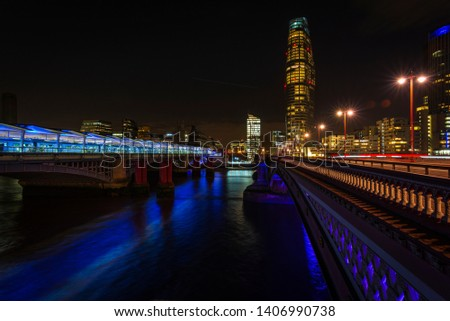 A long exposure image of Blackfriars station from Blackfriars bridge in London city, UK