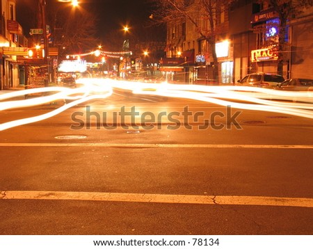 A Long Exposure of a fork in the road in New York City