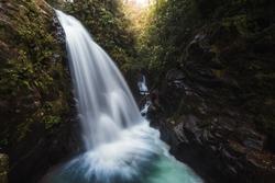 A long exposure of a waterfall at La Paz waterfalls gardens near San José, Costa Rica