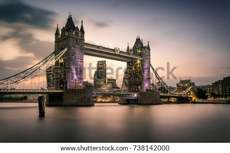 A long exposure of sunset over the City of London, with Tower Bridge in frame, taken near Butler's Wharf