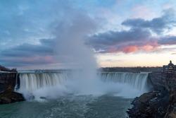 A long exposure photograph of Niagara Falls, Ontario with the camera set on a tripod.