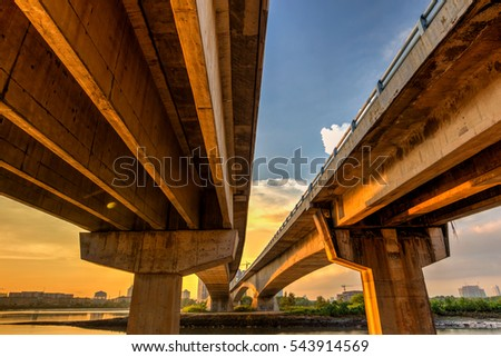 A long exposure picture of beautyful burning sunset under the bridge stock photo