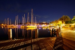 A long exposure shot of sailboats in Jolly Harbour, Antigua.