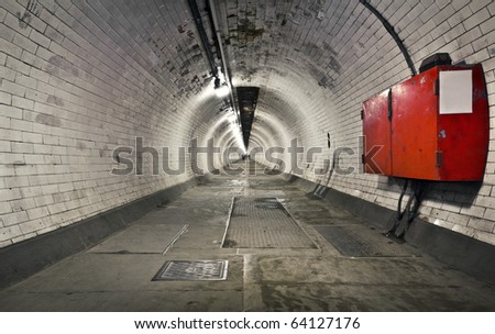 A long foot tunnel under the river Thames to Canary Wharf from Greenwich, London