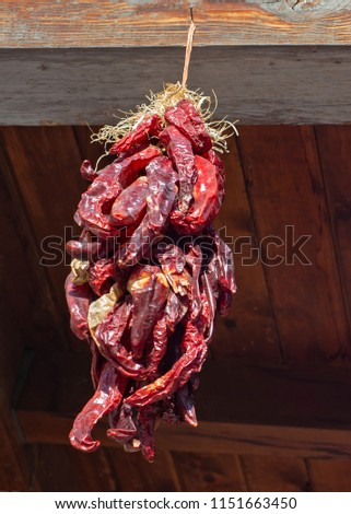 A long ristra of dried red chilis hanging from a beam outdoors.  #1151663450