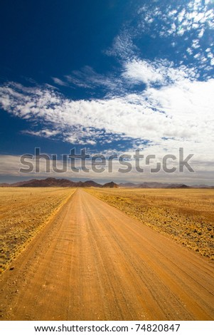 A long scenic gravel road in Namibia