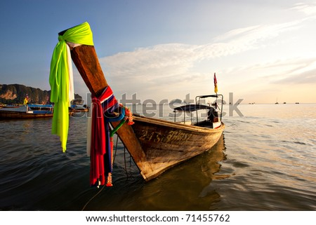 A Long Tail Boat on Ao Nang Beach in Thailand