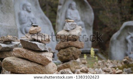 A long time ago in Korea, people wanted to make their wish come true by stacking rocks. These stone stacks are common in old temples and mountain peaks. #1383102623
