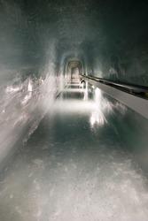 A long wa in the Jungfraujoch Ice Palace, an ice cave under Jungfrau peak, Switzerland