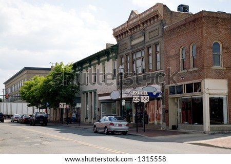 A look down the Main street of a small town in the Midwest of the U.S.A. - stock photo