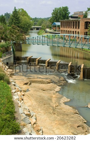 A look down the Reedy River in downtown Greenville, SC.