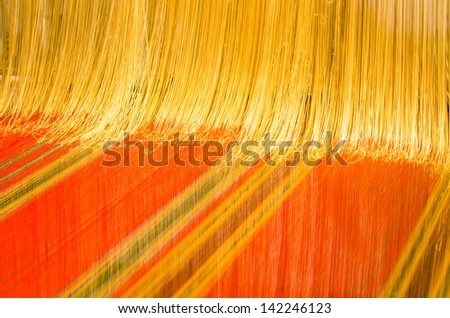 A loom prepared for weaving