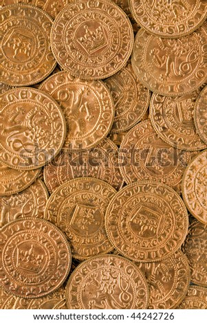 a lot of antique gold coins