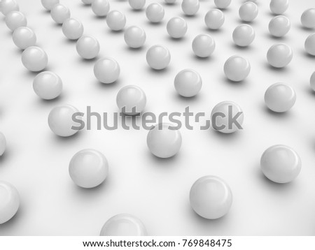 a lot of balls on the surface is white, in a strict order, casting a shadow on the surface. Illustration on white background, isolated. 3D rendering #769848475